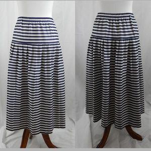 80s Vintage Nautical Stripe Plus Size Circle Skirt